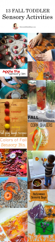Fall has many sights, sounds, smells, textures, and colors to enjoy. Make sure your little ones get the full experience with these 13 fall toddler sensory activities!