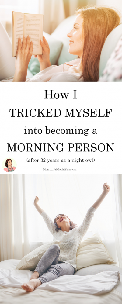 Mornings are the worst. Especially after a hard night with the kids. But after 32 years as a night-owl, I figured out this simple way to trick myself into becoming a morning person!