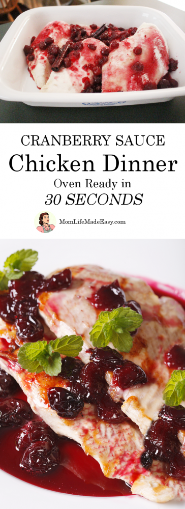 Sometimes you just need an easy dinner that takes less than a minute to throw in the oven! This cranberry sauce chicken is the perfect fall recipe for those times!
