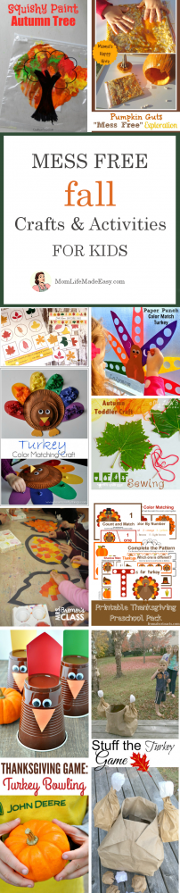 Keeping kids entertained during holiday events can be tricky. You can them to have fun, but stay clean at the same time! Here are 10 mess free fall holiday crafts for kids that will keep the busy, happy, and clean.