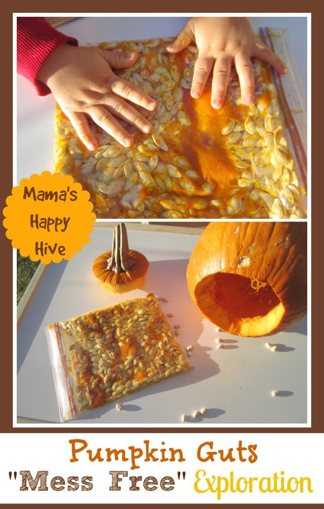 Mess free pumpkin guts activity fall crafts for toddlers