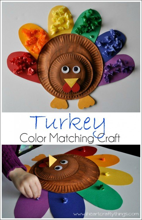 Color matching fall crafts for kids