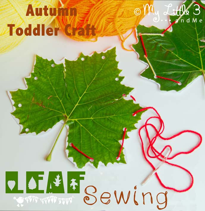 Leaf sewing fall craft for kids