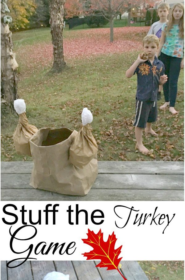 Fun fall games for kids - turkey toss game