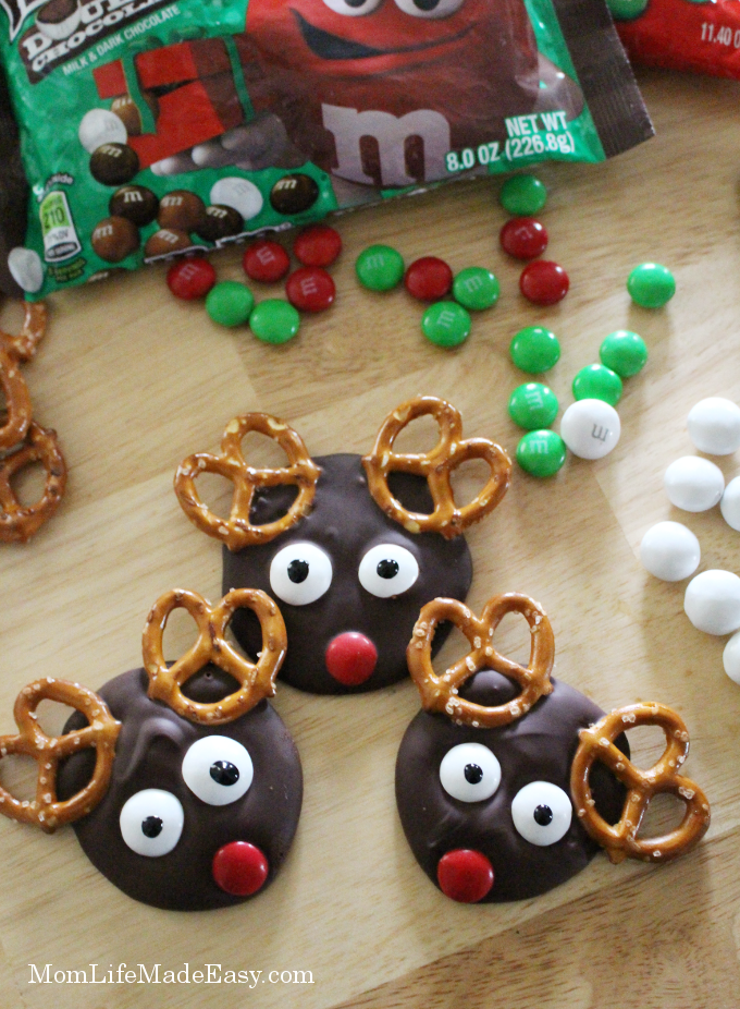 three finished chocolate candy christmas treats