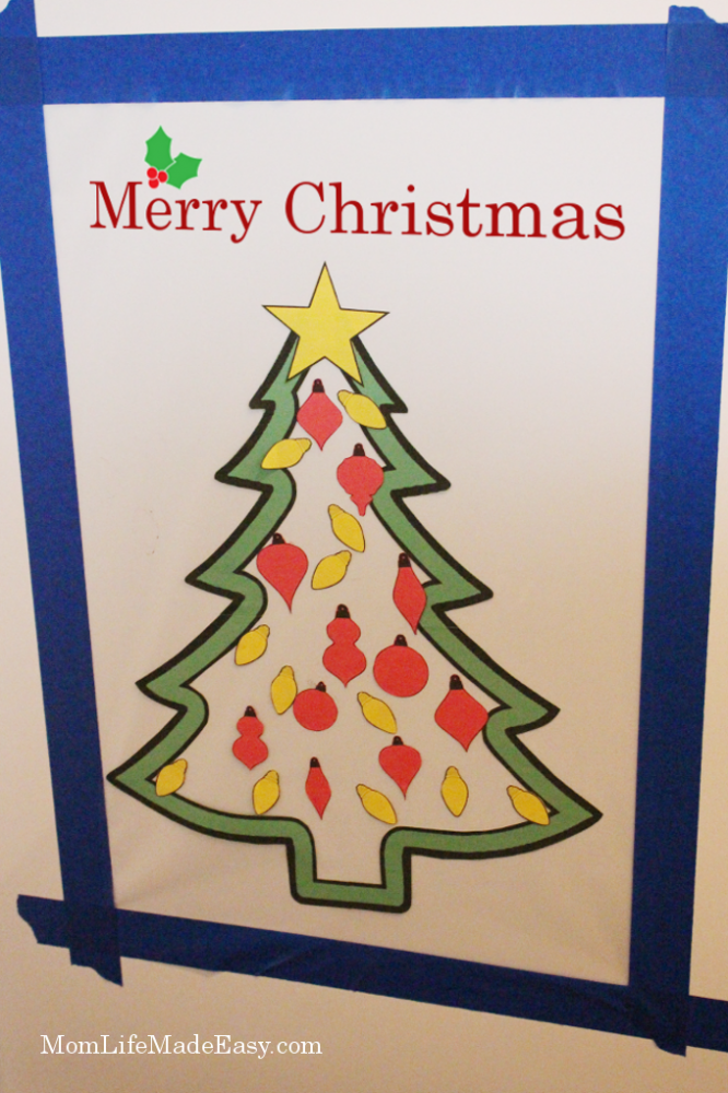 Fridge front contact paper christmas tree craft
