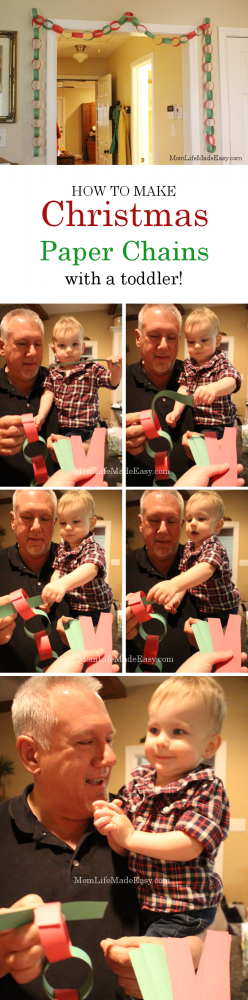 Paper chains are a classic Christmas decoration! Learn how to make paper chains with toddlers and turn this simple craft into a fun activity for the whole family!