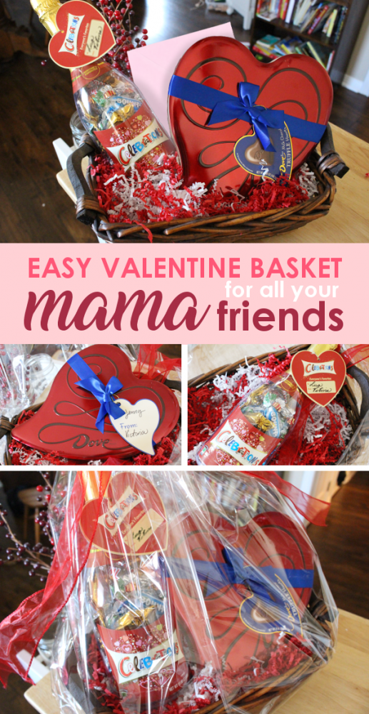 If you're looking for an easy Valentine's Day gift for mom friends, look no further! 3 minutes to put together, looks like a dream, and will probably even make them cry with all the love they can feel radiating from the package… win/win/win!.