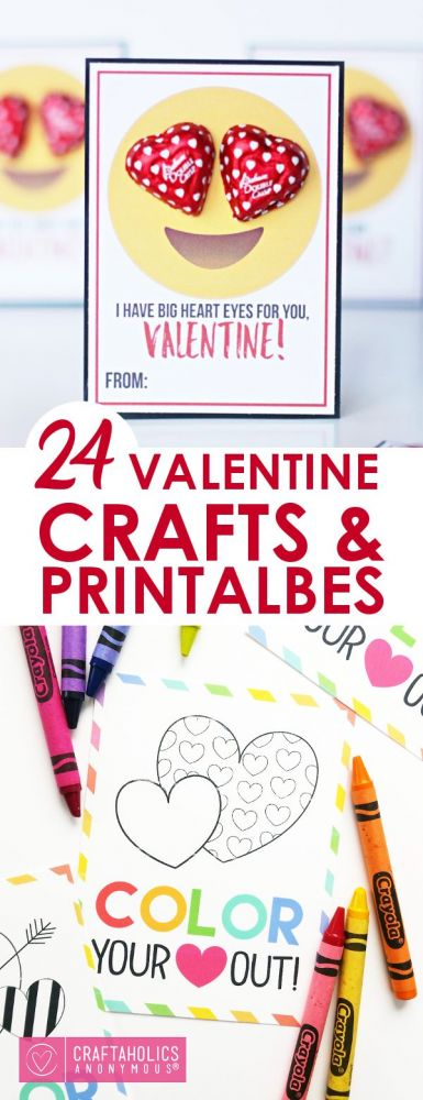 picture about Printable Valentine Craft referred to as 24 Uncomplicated Valentines Crafts and Printables - Clroom