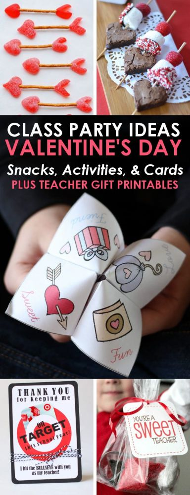 Planning a Valentine's Day party for your preschool or elementary school age child? These class party ideas are perfect for an easy and fun Valentine's Day party everyone will enjoy! You'll find easy Valentine Treat ideas, Printable Valentine's Cards, easy Valentine's Activities, and even Printable Valentine's Teacher Gift Ideas!