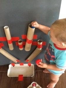 cardboard tube drop game toddler activity