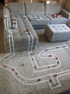 masking tape car tracks for fun toddler activity