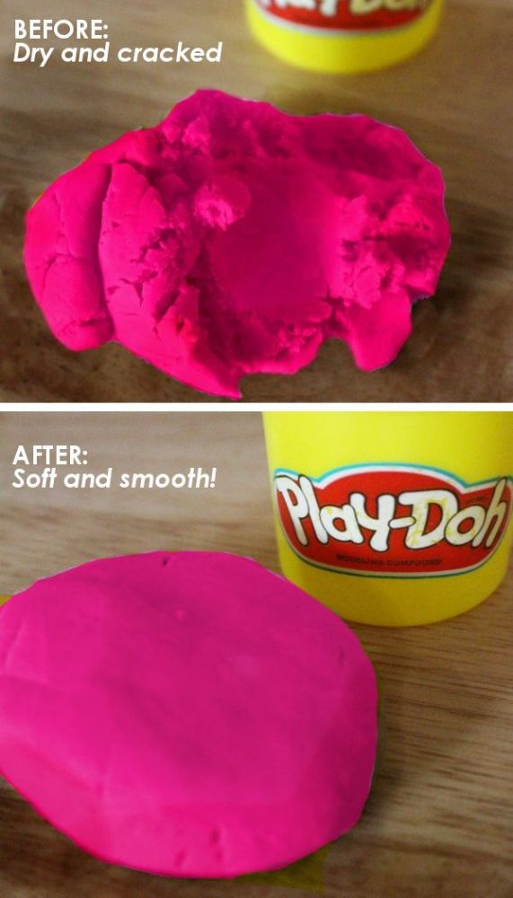 dry playdoh rehydrated to be soft again
