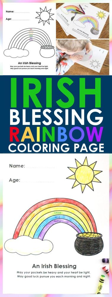 Toddler Craft: Irish Blessing Rainbow Coloring Page | I love a good Irish blessing any day, but they are usually only remembered on St. Patrick's Day. This Irish blessings rainbow coloring page is the perfect way to celebrate the holiday!