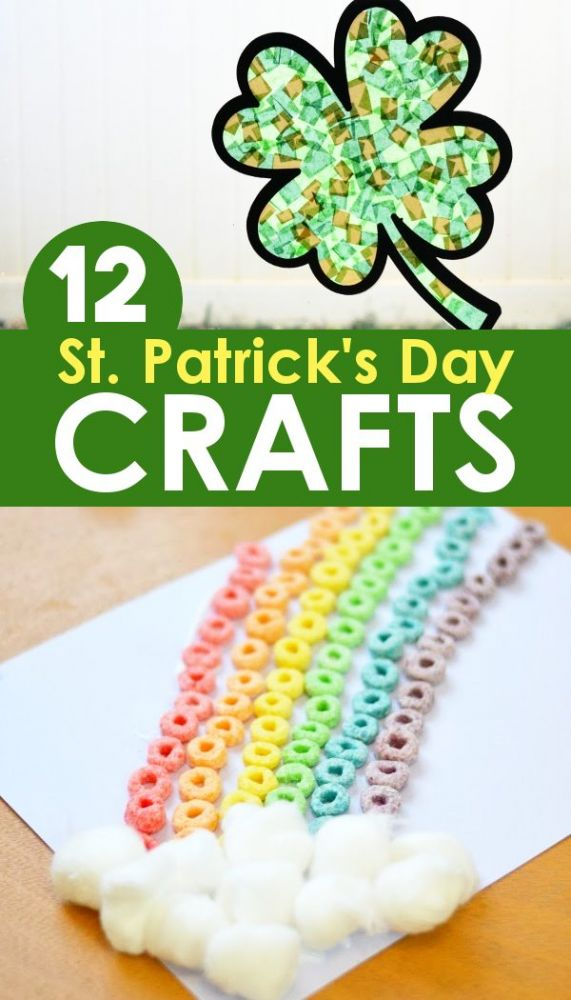 Rainbow cereal craft with shamrock stained glass window paper craft for kids