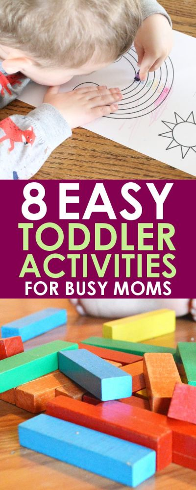 When you're a busy mom, having these easy toddler activities close at hand is essential to survival! All of these activities can be thrown together with less than 30 seconds of effort whenever you need something for your child to do!