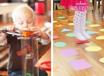 "TODDLER GAMES: Indoor toddler games are great to have on hand for rainy days, cold days, hot days, or just plain ""I need a break"" days! With these 14 toddler games, you'll be ready to entertain your toddler no matter why you need to stay indoors!"