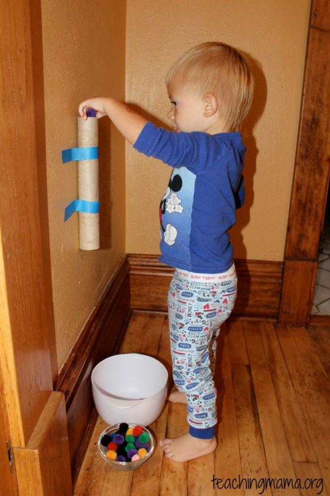 pom pom chute toddler activity