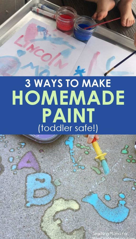 homemade paint for kids on sidewalk and watercolor paper