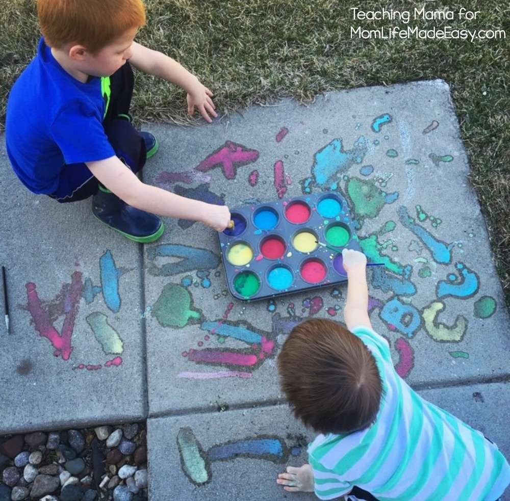 homemade sidewalk chalk paint for kids