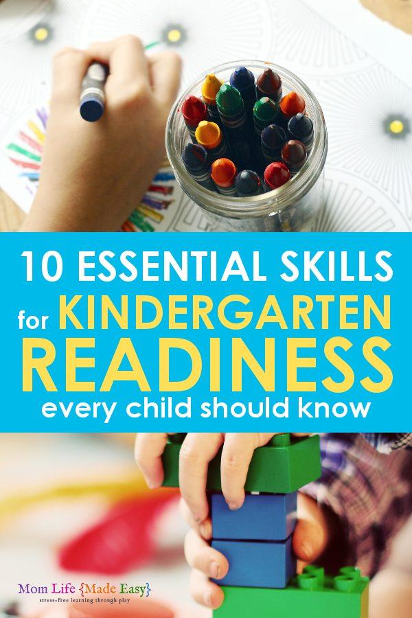 Preschool and kindergarten readiness