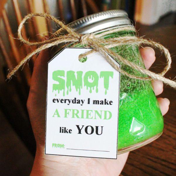 green jar of snot slime with printable gift tag