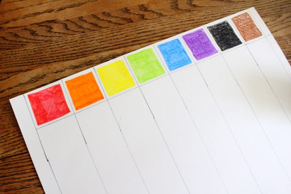 Finished color grid in rainbow order for color graphing activity