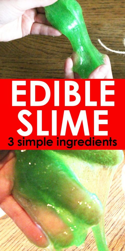Edible slime with gummy bears stretching between hands