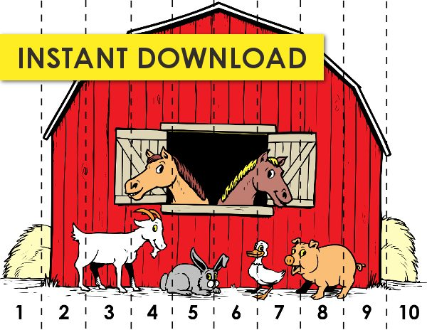 kindergarten math game barn number sequencing free printable