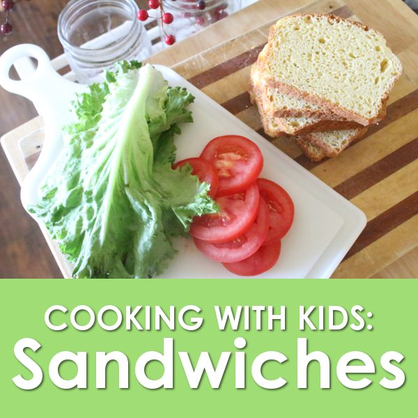 cooking with kids promo image featuring lettuce and tomato and bread