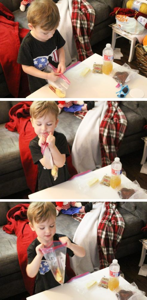 4 year old boy opening a bag of apples, step by step