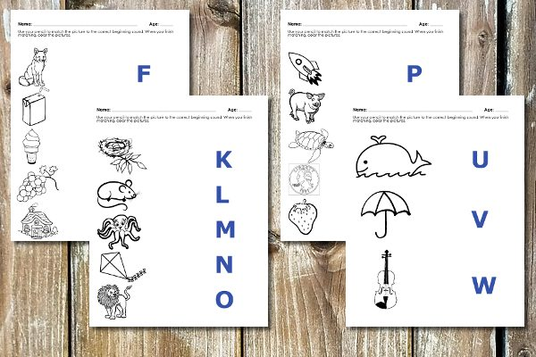 beginning sounds phonics worksheets
