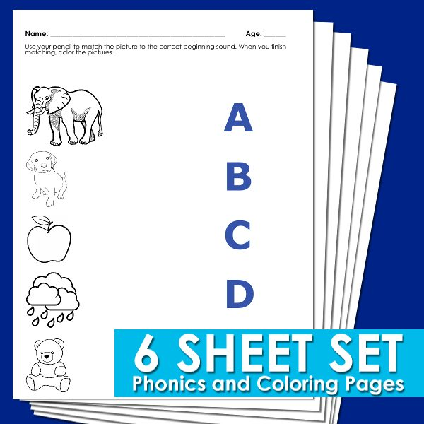 phonics worksheets on a blue background