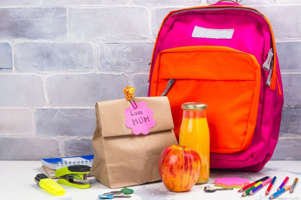 a paper bag school lunch for kids featured next to a backpack
