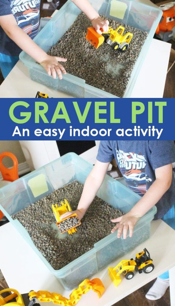 DIY indoor activity for kids, a gravel pit!