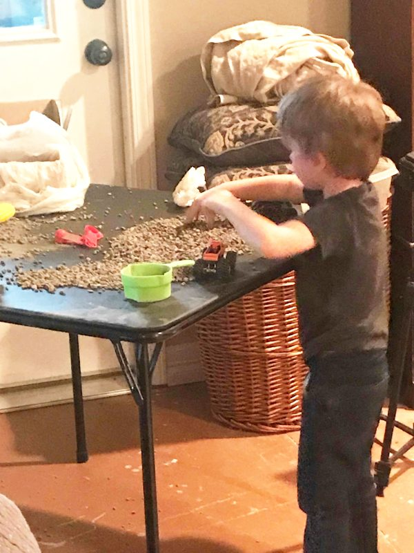 DIY gravel game for indoor play activities