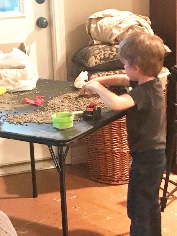 DIY gravel game for indoor play activities