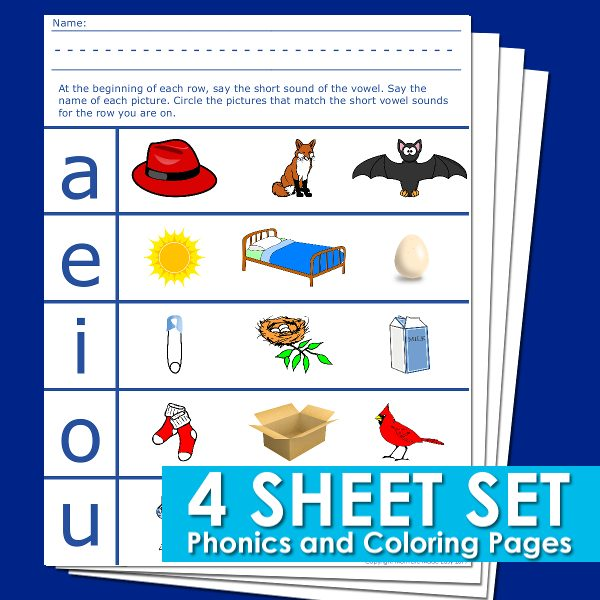 Vowel sounds phonics worksheets preview