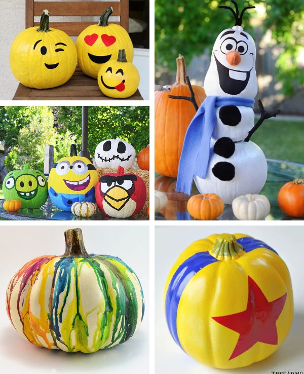5 different examples of easy painted pumpkins for kids