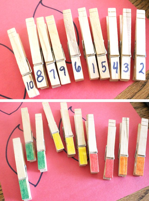 clothes pins marked with numbers and colors for math activities