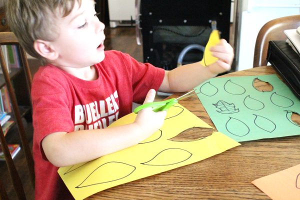 Preschool student cutting leaves for fall math game