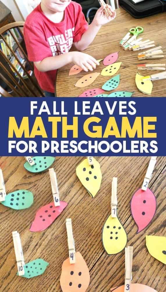 preschool and kindergarten student playing a fall math game