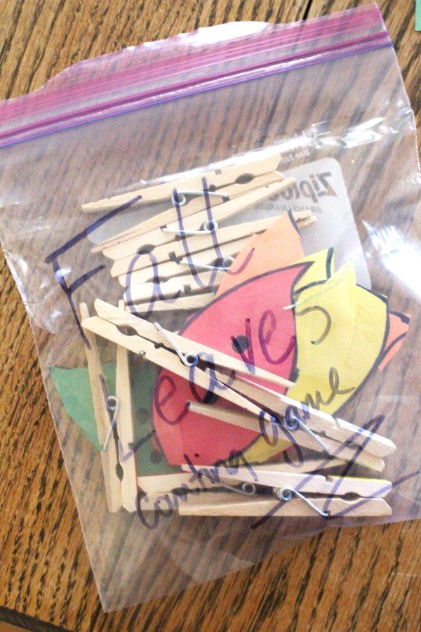 Math activity for preschoolers stored in a ziploc baggie