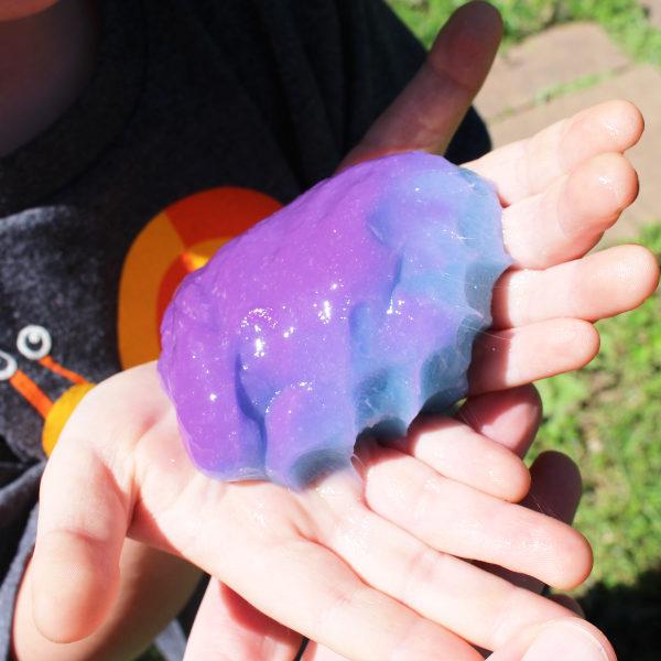 blue fingerprints in purple color changing slime
