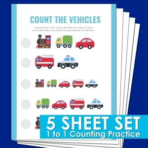 1 to 1 counting printables for preschool and kindergarten