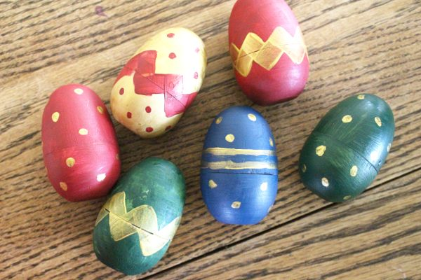 finished stripes and polka dots wooden easter eggs painting activity