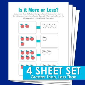 Greater than less than kindergarten math worksheets