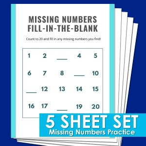 Missing Numbers practice sheets for kindergarten