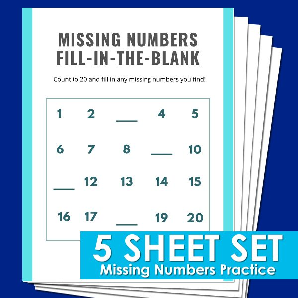 Missing Number Skip Counting Practice Sheets For Kindergarten