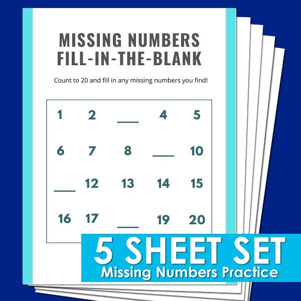 Missing Numbers practice sheets for kindergarten